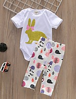 cheap -Baby Girls' Basic Easter Rabbit Print Short Sleeve Regular Clothing Set White / Toddler
