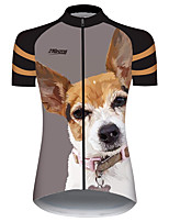 cheap -21Grams Women's Short Sleeve Cycling Jersey 100% Polyester Brown+Gray Animal Bike Jersey Top Mountain Bike MTB Road Bike Cycling UV Resistant Breathable Quick Dry Sports Clothing Apparel / Stretchy