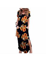 cheap -Women's Swing Dress - Floral Black Maxi S M L XL