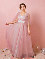 cheap -A-Line V Neck Floor Length Lace / Satin / Tulle Plus Size / Pink Prom / Formal Evening Dress with Appliques / Ruched / Pleats 2020