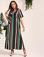 cheap -Women's Daily Work Casual Active A Maxi Line Dress - Color Block Rainbow S M L XL