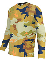 cheap -21Grams Men's Long Sleeve Cycling Jersey Downhill Jersey Dirt Bike Jersey 100% Polyester Camouflage Camo / Camouflage Bike Jersey Top Mountain Bike MTB Road Bike Cycling UV Resistant Breathable Quick
