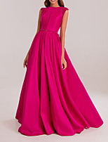cheap -A-Line Elegant Pink Prom Formal Evening Dress Jewel Neck Sleeveless Floor Length Polyester with Pleats Beading 2020