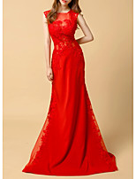 cheap -Mermaid / Trumpet Illusion Neck Sweep / Brush Train Lace / Tulle Elegant / Red Engagement / Formal Evening Dress with Lace Insert / Appliques 2020