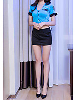 cheap -Women's Ruffle Uniforms & Cheongsams / Suits Nightwear Solid Colored Blue One-Size