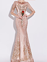 cheap -Mermaid / Trumpet Boat Neck Floor Length Polyester Sparkle / Pink Engagement / Formal Evening Dress with Sequin / Appliques 2020