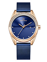 cheap -NAVIFORCE Ladies Quartz Watches Casual Fashion Black Blue Silver Stainless Steel Japanese Quartz Rose Gold Golden+White Blue Water Resistant / Waterproof Calendar / date / day New Design 30 m 1 pc