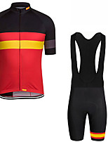 cheap -21Grams Men's Short Sleeve Cycling Jersey with Bib Shorts Black / Red Spain National Flag Bike Clothing Suit UV Resistant Breathable 3D Pad Quick Dry Sweat-wicking Sports Solid Color Mountain Bike