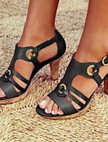 cheap -Women's Sandals Stiletto Heel Round Toe PU Spring & Summer Black / Brown / Red