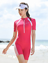 cheap -Women's Rash Guard Dive Skin Suit Elastane Swimwear UV Sun Protection Breathable Quick Dry Half Sleeve Swimming Surfing Water Sports Patchwork Summer / High Elasticity