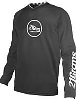 cheap -21Grams Men's Long Sleeve Cycling Jersey Downhill Jersey Dirt Bike Jersey 100% Polyester Black / White Bike Jersey Top Mountain Bike MTB Road Bike Cycling UV Resistant Breathable Quick Dry Sports