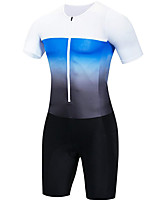 cheap -21Grams Men's Short Sleeve Triathlon Tri Suit Black / White Patchwork Bike Clothing Suit UV Resistant Breathable 3D Pad Quick Dry Sweat-wicking Sports Solid Color Mountain Bike MTB Road Bike Cycling