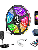 cheap -5m Flexible LED Light Strips / Light Sets / RGB Strip Lights 150 LEDs SMD5050 10mm 1 24Keys Remote Controller / 1 X 12V 3A Power Supply 1 set Multi Color APP Control / Cuttable / Decorative 12 V