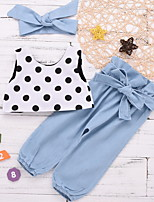 cheap -Baby Girls' Basic Polka Dot Sleeveless Regular Clothing Set Black