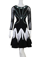 cheap -Latin Dance Dresses Women's Performance Chinlon / Mesh Tassel / Split Joint / Crystals / Rhinestones Long Sleeve Natural Dress
