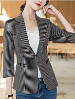 cheap -Women's Blazer, Solid Colored Notch Lapel Polyester Yellow / Black / Beige
