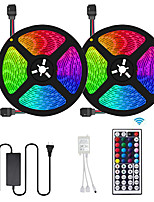 cheap -2x5M Flexible LED Light Strips / Light Sets / RGB Strip Lights 600 LEDs SMD3528 8mm 1 12V 6A Adapter / 1 44Keys Remote Controller 1 set Multi Color Waterproof / Decorative / Self-adhesive 12 V