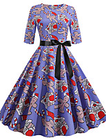 cheap -Women's Party Daily Cute Street chic Swing Dress - Print Patchwork Print Purple S M L XL