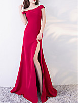 cheap -Mermaid / Trumpet Off Shoulder Floor Length Polyester Elegant / Red Engagement / Prom Dress with Split 2020