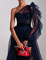 cheap -A-Line Sexy Blue Engagement Formal Evening Dress One Shoulder Long Sleeve Court Train Tulle with Sash / Ribbon Ruffles Split 2020