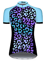 cheap -21Grams Women's Short Sleeve Cycling Jersey 100% Polyester Blue Bike Jersey Top Mountain Bike MTB Road Bike Cycling UV Resistant Breathable Quick Dry Sports Clothing Apparel / Stretchy