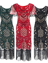 cheap -The Great Gatsby Vintage 1920s Flapper Dress Dress Party Costume Women's Sequin Costume Golden / Silver / Green Vintage Cosplay Party Short Sleeve