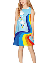 cheap -Kids Girls' Basic Cute Rainbow Print Sleeveless Above Knee Dress Light Blue