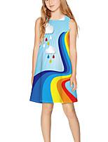 cheap -Kids Girls' Basic Cute Rainbow Print Sleeveless Above Knee Dress Light Blue