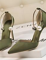 cheap -Women's Heels Stiletto Heel Pointed Toe PU Spring & Summer Black / Dark Red / Dark Green