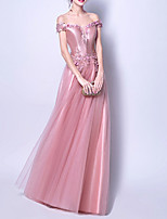 cheap -A-Line Off Shoulder Floor Length Polyester Spring / Pink Engagement / Prom Dress with Appliques 2020