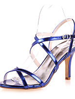 cheap -Women's Wedding Shoes Stiletto Heel Open Toe Patent Leather Minimalism Spring & Summer Gold / Blue / Silver / Party & Evening