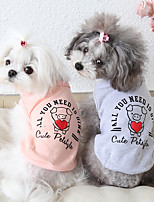 cheap -Dog Costume Vest Dog Clothes Breathable Pink Gray Costume Beagle Bichon Frise Chihuahua Cotton Cartoon Quotes & Sayings Casual / Sporty Cute XS S M L XL