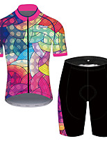 cheap -21Grams Men's Short Sleeve Cycling Jersey with Shorts Pink / Black Bike UV Resistant Quick Dry Sports Solid Color Mountain Bike MTB Road Bike Cycling Clothing Apparel / Stretchy