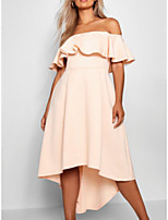 cheap -A-Line Off Shoulder Asymmetrical Polyester Maternity / Pink Prom / Holiday Dress with Ruffles 2020
