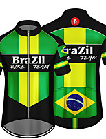 cheap -21Grams Men's Short Sleeve Cycling Jersey 100% Polyester Green / Black Brazil National Flag Bike Jersey Top Mountain Bike MTB Road Bike Cycling UV Resistant Breathable Quick Dry Sports Clothing