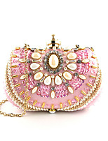cheap -Women's Crystals Polyester Evening Bag Floral Print Blushing Pink