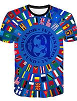 Недорогие -Дети Мальчики Классический Уличный стиль Контрастных цветов 3D Флаг С принтом С короткими рукавами Футболка Синий