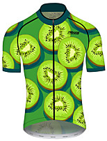 cheap -21Grams Men's Short Sleeve Cycling Jersey 100% Polyester Black / Green Tropical Flowers Bike Jersey Top Mountain Bike MTB Road Bike Cycling UV Resistant Breathable Quick Dry Sports Clothing Apparel