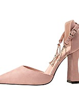 cheap -Women's Heels Chunky Heel Pointed Toe Suede Spring & Summer Black / Red / Pink