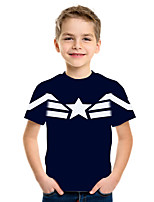 cheap -Kids Boys' Basic Street chic Geometric Color Block 3D Print Short Sleeve Tee Navy Blue