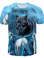 cheap -Kids Boys' Basic Street chic Wolf Color Block 3D Animal Print Short Sleeve Tee Light Blue