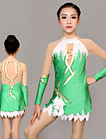 cheap -Rhythmic Gymnastics Leotards Artistic Gymnastics Leotards Women's Girls' Leotard Green Spandex High Elasticity Handmade Jeweled Diamond Look Long Sleeve Competition Dance Rhythmic Gymnastics Artistic