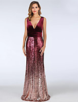 cheap -A-Line V Neck Floor Length Velvet Color Block / Red Formal Evening / Wedding Guest Dress with Sequin 2020
