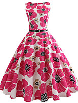cheap -Women's Blushing Pink Dress Active Cute Party Daily Swing Floral Print Daisy Patchwork Print S M / Cotton