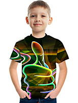 cheap -Kids Boys' Basic Street chic Color Block 3D Print Short Sleeve Tee Rainbow