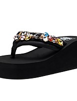 cheap -Women's Slippers & Flip-Flops Wedge Heel Open Toe Rhinestone / Sparkling Glitter Polyester Vintage / Casual Walking Shoes Summer Black / Party & Evening