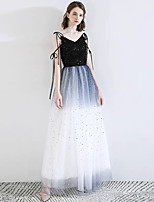 cheap -A-Line V Neck Floor Length Lace / Satin / Tulle White / Blue Engagement / Formal Evening Dress with Sequin 2020