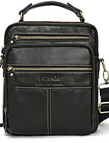 cheap -Men's Zipper PU Top Handle Bag Solid Color Black