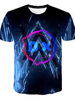 Недорогие -Дети Мальчики Классический Уличный стиль Геометрический принт Контрастных цветов 3D С принтом С короткими рукавами Футболка Темно синий