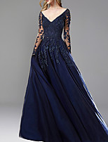 cheap -A-Line Elegant Blue Wedding Guest Formal Evening Dress V Neck Long Sleeve Sweep / Brush Train Chiffon with Appliques 2020